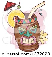 Clipart Of A Tiki Cocktail Mug Royalty Free Vector Illustration