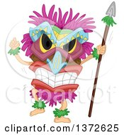 Clipart Of A Native Tiki Dancer Royalty Free Vector Illustration