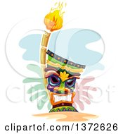 Clipart Of A Grinning Tiki And Torch Royalty Free Vector Illustration