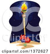 Clipart Of A Tiki Torch With Hibiscus Flowers And Shells On A Beach At Night Royalty Free Vector Illustration by BNP Design Studio