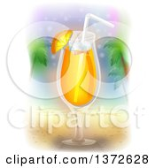 Clipart Of A Tropical Cocktail On A Beach Royalty Free Vector Illustration by BNP Design Studio