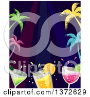 Clipart Of A Border Of Colorful Palm Trees And Cocktails Royalty Free Vector Illustration by BNP Design Studio