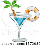 Clipart Of A Cocktail Glass With A Life Buoy And Palm Tree Royalty Free Vector Illustration by BNP Design Studio