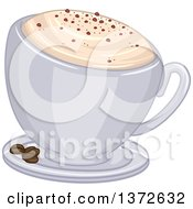 Frothy Cup Of Cappuccino Coffee And Beans On A Saucer