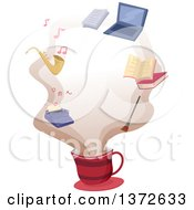 Clipart Of A Coffee Cup With Common Hobby Icons In The Steam Royalty Free Vector Illustration