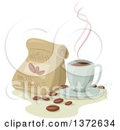 Clipart Of A Cup Of Hot Coffee By A Bag Of Beans Royalty Free Vector Illustration
