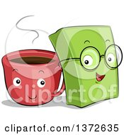 Clipart Of Happy Coffee Cup And Book Characters Royalty Free Vector Illustration by BNP Design Studio