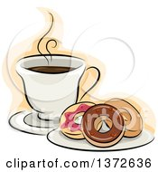 Clipart Of A Plate Of Donuts And Hot Coffee Royalty Free Vector Illustration by BNP Design Studio