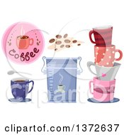 Clipart Of Coffee Cups A Bag Beans And Icon Royalty Free Vector Illustration