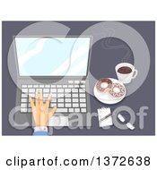 Clipart Of A Hand Using A Laptop With Donuts And Coffee On A Desk Royalty Free Vector Illustration