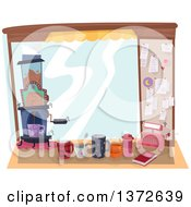 Clipart Of A Coffee Stand With Mugs And Receipts Royalty Free Vector Illustration