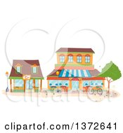 Clipart Of Coffee Shop Buildings Royalty Free Vector Illustration