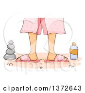 Clipart Of A Womans Feet With Spa Rocks And Lotion Royalty Free Vector Illustration