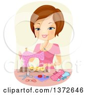 Clipart Of A Brunette White Woman Using A Sewing Machine To Make Sanitary Napkins Royalty Free Vector Illustration