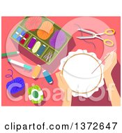 Clipart Of A Womans Hands Working On An Embroidery Kit Royalty Free Vector Illustration
