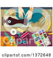 Clipart Of A Womans Hands Sewing Royalty Free Vector Illustration