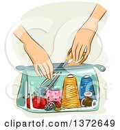Clipart Of A Womans Hands Pulling Scissors Out Of A Sewing Kit Bag Royalty Free Vector Illustration