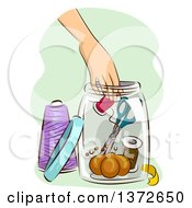 Clipart Of A Womans Hand Reaching For A Spool In A Jar Of Sewing Materials Royalty Free Vector Illustration by BNP Design Studio