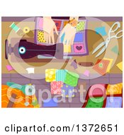 Clipart Of A Womans Hands Sewing A Quilt Royalty Free Vector Illustration
