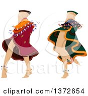 Clipart Of Two Belly Dancers Performing Royalty Free Vector Illustration