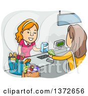 Clipart Of A Cartoon White Female Shopper At A Grocery Store Cash Register Royalty Free Vector Illustration