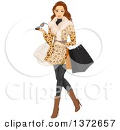 Clipart Of A Brunette White Woman Wearing A Fur Coat And Shopping Royalty Free Vector Illustration