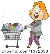 Clipart Of A Cartoon Red Haired White Woman Smiling And Shopping For Books Royalty Free Vector Illustration