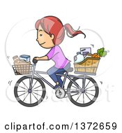 Clipart Of A Cartoon Red Haired White Woman Riding A Bicycle With Groceries In Baskets Royalty Free Vector Illustration