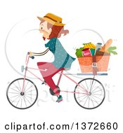 Clipart Of A Red Haired White Woman Riding A Bicycle With Groceries In A Basket Royalty Free Vector Illustration