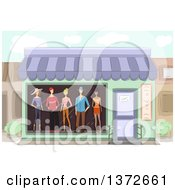 Clipart Of A Boutique Store Front With Mannequins In The Window Royalty Free Vector Illustration