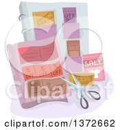 Clipart Of A Pair Of Scissors And Coupons Royalty Free Vector Illustration