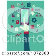 Clipart Of A Flat Design Hand Using A Smart Phone With Apps On Green Royalty Free Vector Illustration