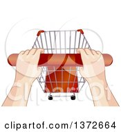 Clipart Of A View Of Hands On A Shopping Cart Handle Royalty Free Vector Illustration