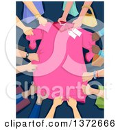 Clipart Of A Pink Discounted Shirt Being Grabbed By Many Shoppers Royalty Free Vector Illustration by BNP Design Studio