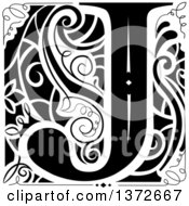 Black And White Vintage Letter J Monogram