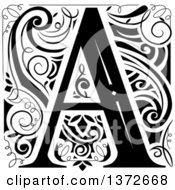 Clipart Of A Black And White Vintage Letter A Monogram Royalty Free Vector Illustration