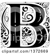 Black And White Vintage Letter B Monogram