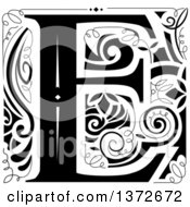 Black And White Vintage Letter E Monogram