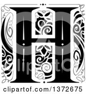 Black And White Vintage Letter H Monogram
