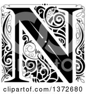Black And White Vintage Letter N Monogram