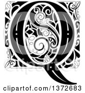 Black And White Vintage Letter Q Monogram