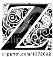 Black And White Vintage Letter Z Monogram