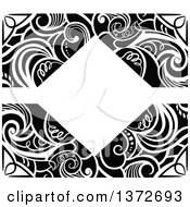 Clipart Of A Black And White Vintage Swirl Floral Frame Royalty Free Vector Illustration