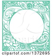 Clipart Of A Green Vintage Swirl Floral Frame Royalty Free Vector Illustration
