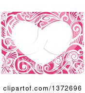 Clipart Of A Heart Shaped Floral Frame Royalty Free Vector Illustration