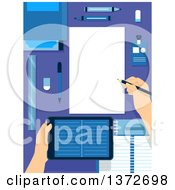 Clipart Of Hands Holding A Tablet Computer And Writing Notes On A Desk Royalty Free Vector Illustration by BNP Design Studio
