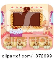 Clipart Of A Gingerbread Man Teacher With A Class Room Of Pastries Royalty Free Vector Illustration by BNP Design Studio