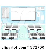Clipart Of A Computer Lab With Laptops On Desks And A White Board Royalty Free Vector Illustration