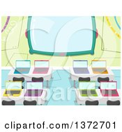 Clipart Of A Computer Lab With Colorful Laptops On Desks And A Screen Royalty Free Vector Illustration