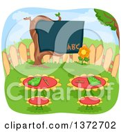 Clipart Of A Garden Class Room With Flower Tables And A Tree Black Board Royalty Free Vector Illustration